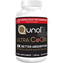 Qunol Ultra CoQ10 100mg, 3x Better Absorption, Patented Water and Fat Soluble Natural Supplement Form of C0Q10, Antioxidant for Heart Health, 30 Count Softgels