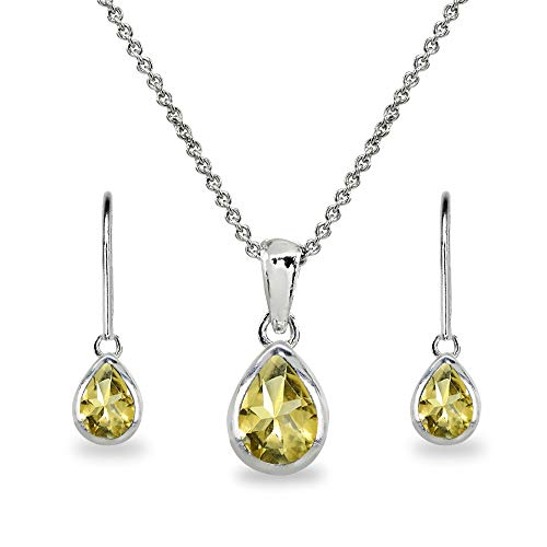 Sterling Silver Citrine Teardrop Bezel-Set Pendant Necklace & Dangle Earrings Set for Women, Teen Girls (Citrine Bezel Necklace)