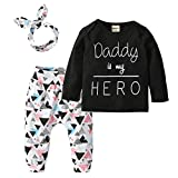 Newborn Baby Girls 3Pcs Outfit Set Letters Daddy is My Hero T-Shirt Tops Geometric Pants with Headband (70(6-9 Months))
