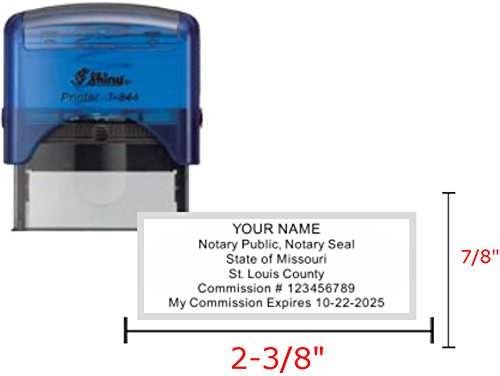 Shiny Blue Notary Stamp | Self Inking, Printer S-844, 2.3x0.81 inch Prints | Missouri