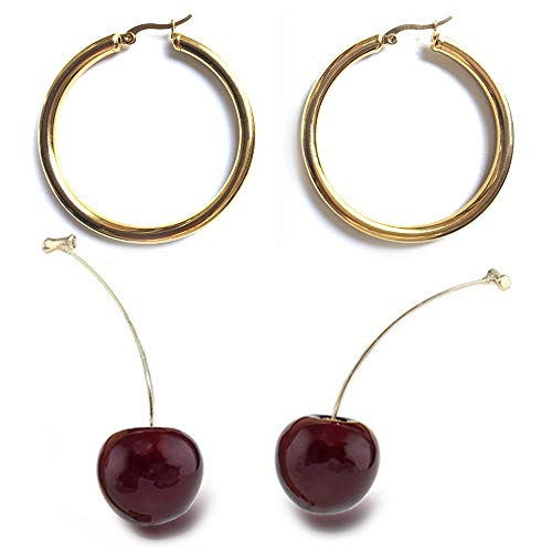 2 Pairs Mix Chunky Tube Large Big 18K Gold Plated Hoop Earrings;3D Cherry Drop Earrings Cute Fruit Gold Dangle Charm…