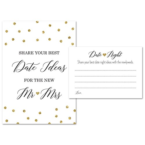 Date Night Advice (1 sign+45 cards) - Faux Gold Glitter - for Bridal Shower and Wedding Recption, Bridal Shower Games, Date Jar Sign, Reception Signs -