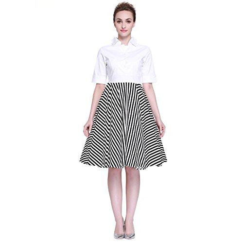 177de5cc6b1d Heroecol Women Vintage 1950s Dresses Polo Neck Short Sleeve 50s 60s Splice  Style Retro Swing Cotton