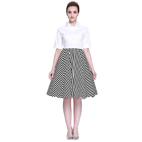 [Heroecol Women Vintage 1950s Dresses Polo Neck Short Sleeve 50s 60s Splice Style Retro Swing Cotton Dress Size S Color Black] (50s And 60s Halloween Costumes)