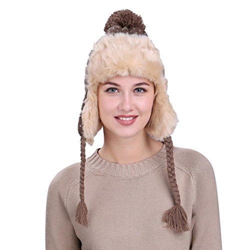 (Hunputa Women Hat Winter, Womens Windproof Russian Aviator Trapper Hat With Faux Fur Earflap Peruvian Pom Pom Thick Ski Cap (Khaki))