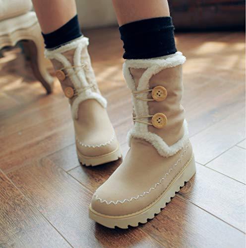 Liangxie Hebilla Una Caminar Nieve Tubo De Locomotora Piel Botas Al Mujeres Libre Aire Antideslizante Becerro Invierno Beige Zapatos Corto rZOr18
