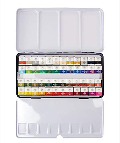 Mungyo Professional Half Pan Size Water Colors Set in Tin Case/Integral Mixing Palette in The lid (48 Colors)