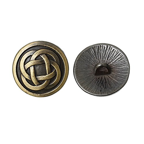 PEPPERLONELY Brand 10PC Antiqued Bronze Round Pattern Carved Knot Scrapbooking Sewing Buttons 17mm (Approximately 5/8 -