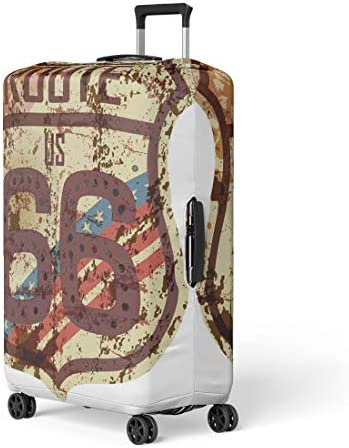 Pinbeam Luggage Cover Red Pattern Detailed Traditional Sadu Uae Qatar Bedouin Travel Suitcase Cover Protector Baggage Case Fits 18-22 inches