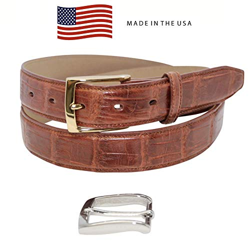 (Size 36 Cognac Genuine Millennium Alligator Belt - Gold and Silver Removable Buckle - Factory Direct Price - 1 ¼ inch (32mm) Wide - Made in USA by Real Leather Creations FBA1199)