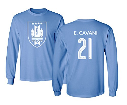 sale retailer 9d168 9e056 Tcamp Uruguay 2018 National Soccer #21 Edinson CAVANI World Championship  Men's Long Sleeve T-Shirt (Carolina Blue, Adult Medium)