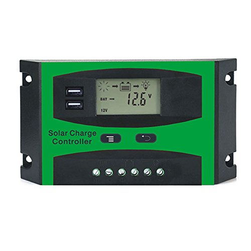 SODIAL 30A 12V 24V Solar Controller LCD Function Dual USB 5VDC Output Solar cells Panel Battery Charge Regulator