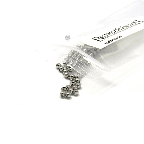 100 Surgical 304 Stainless Steel Silver Round Spacer Ball Beads (3mm)