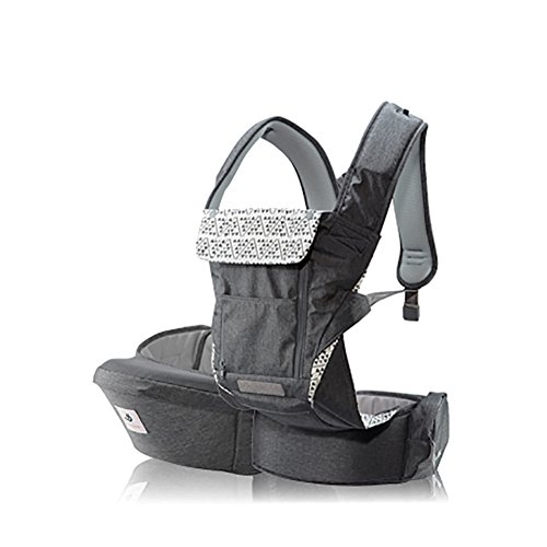 Pognae No 5 Plus Luxury All-In-One Baby Carrier Organic Infant Baby Hipseat Front Backpack Carrier (Gray)