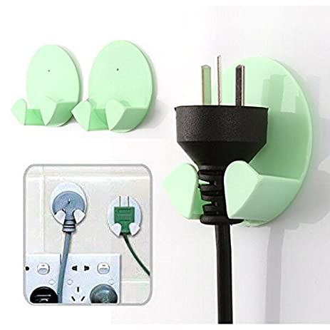 Amazon.com: 10 Pcs Power Plug Socket Rack Hooks Strong Adhesive Hook ...