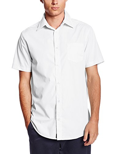 Lee Uniforms Men's Short Sleeve Dress Shirt, White, Medium