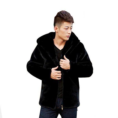 Fhillinuo Mink Faux Fur Jacket For Men With Hood(Black M) - Black Mink Jacket