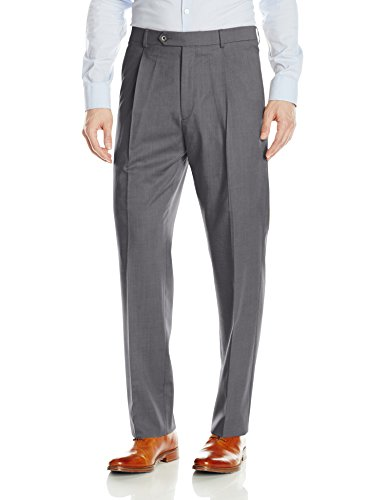 Hart Schaffner Marx Men's Single Pleat Chicago Fit Dress Pant, Medium Grey, 34 Regular - Pleats Wool Trousers
