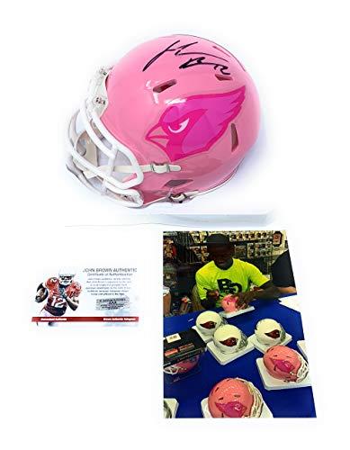 - John Brown Arizona Cardinals Signed Autograph PINK BCA Limited Edition Mini Helmet JBrown Certified