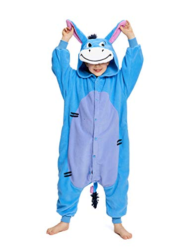 NEWCOSPLAY Kids Plush One Piece Cosplay Onesies Costume (105, Donkey)