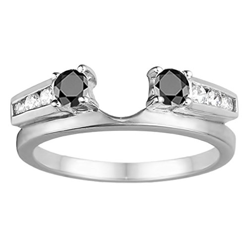 Black Diamonds Wedding Ring Enhancer Mounted In Silver(0.31Ct) Size 3 To 15 in 1/4 Size Interval ()