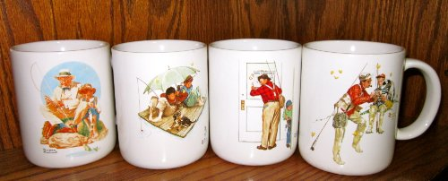 Set of Four Museum Collections, Inc. Norman Rockwell Coffee Mugs/Cups (Catching the Big One; Fisherman's Paradise; Trout Dinner; Closed for Business)