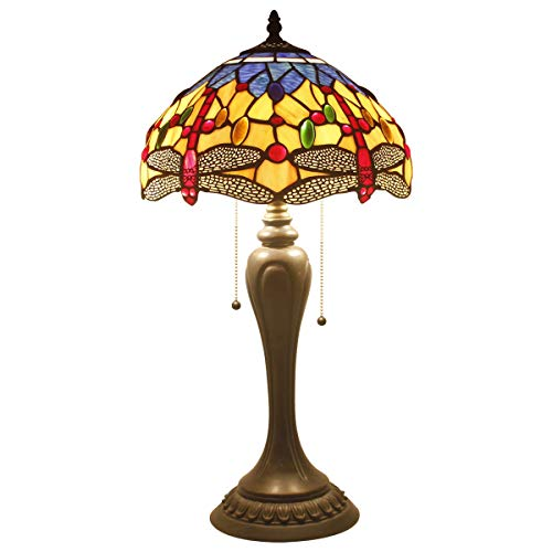 Tiffany Lamps Orange Blue Stained Glass and Crystal Bead Dragonfly Style Table Lamp Wide 12 Height 22 Inch for Coffee Table Living Room Antique Desk Beside Bedroom S168 WERFACTORY ()
