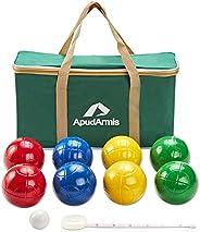 ApudArmis 90mm Bocce Balls Set, Lighter Outdoor Bocce Game for Backyard/Lawn/Beach - Set of 8 Soft PE Balls &a