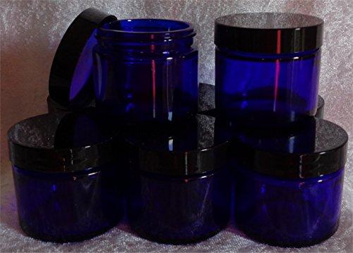 2-oz Cobalt Blue Glass Jars for beauty products, creams, essential oils (Set of 6) Lavatory Set Oil