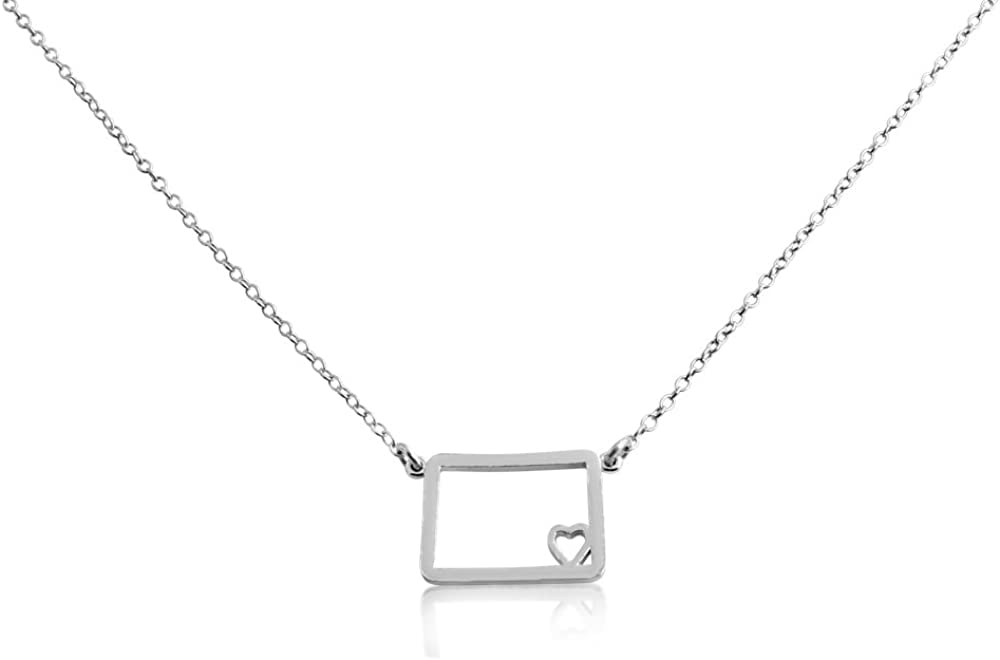 Belcho USA 925 Sterling Silver Small Colorado State Necklace