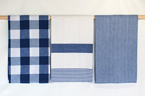 Three Blue and White Kitchen Towels by C & F