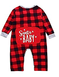 SUPEYA Baby Boys Girls Christmas Santa Pants One-Piece Plaid Romper Bodysuit