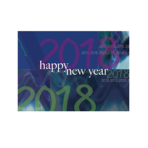 "New Year Greeting Card N9002. Wish ""health and happiness throughout ""2018"" to family, friends and business associates. Silver foil-lined envelopes."