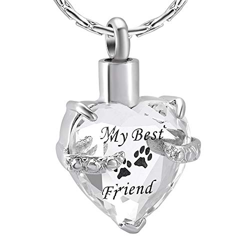 constantlife Cremation Jewelry for Ashes, Heart Shape Memorial Urn Necklace Stainless Steel Crystal Glass Pendant Ashes Holder Keepsake for Women (Clear and Black) ()
