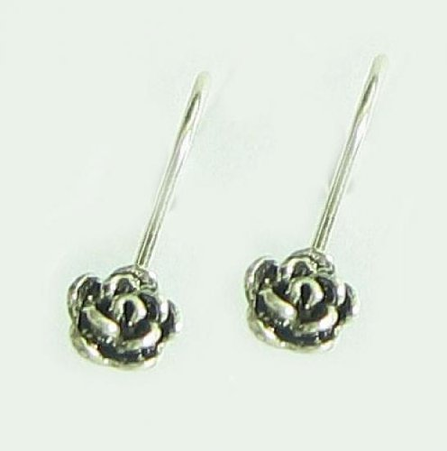 - 4 pcs .925 Bali Sterling Silver Rose Flower Ear Wire French Hook Earwires Earring Connector/Findings/Antique