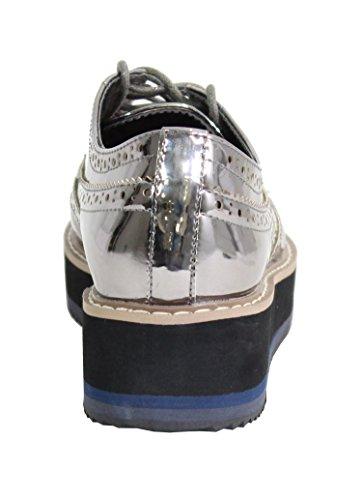 Plateforme By avec Chaussure Derbies Style Shoes Femme Gris UqxHqt