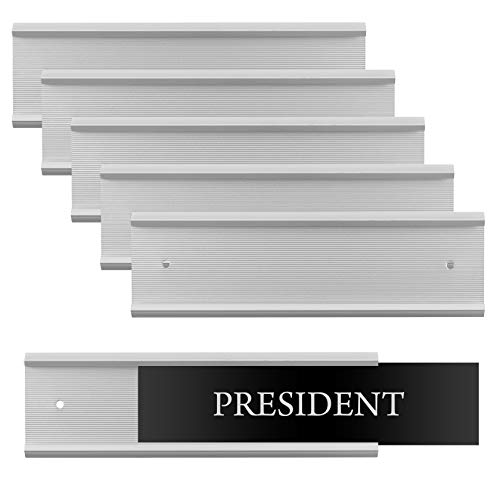 (Set of 6 - Sturdy and Elegant Silver Aluminum Wall Mount Name Plate Holder, Office Business Door Sign Holder, 8