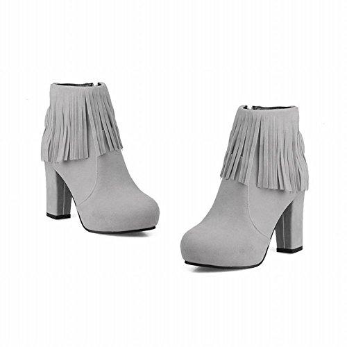 ... Mee Shoes Damen Quaste inner Plateau Reißverschluss high heels Ankle  Boots Hellgrau ...