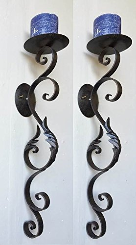 Valentina Tuscan Scrolling Acanthus Wrought Iron Wall Candle Sconce Set