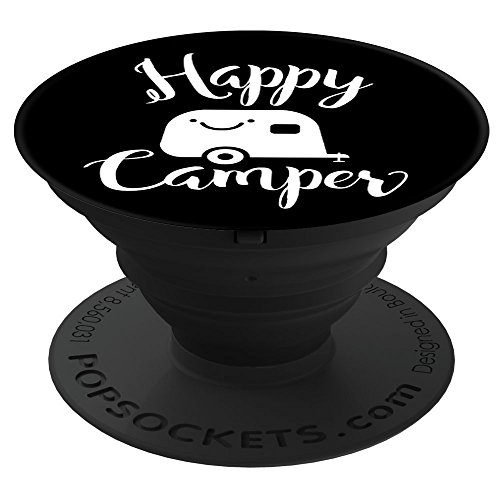 Price comparison product image Culture of Pop Happy Camper Camping Cute RV Trailer White 2 PopSockets Stand for Smartphones and Tablets