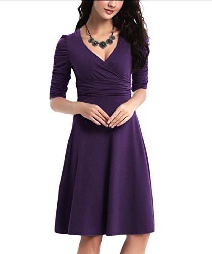 Coolred-femmes Tunique Partie Solide Automne Ruché Swing Curvy Couleur Robe Violette