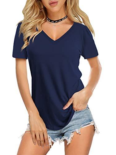 Navy V-neck Top - Amoretu Solid Color V Neck T-Shirts for Women Short Sleeve Summer Tops(Navy,L)