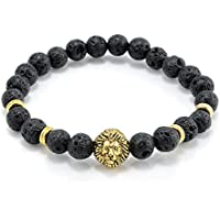 Cool Mens 8MM Black Lava Stone Gold Lion Beaded Charm Bracelet Gift Cheapest