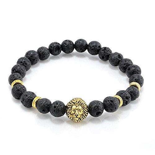Cool Mens 8MM Black Lava Stone Gold Lion Beaded Charm Bracelet Gift Cheapest