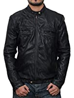 Mens Black Slim Fit Lambskin Leather Jacket - Zac Efron 17 Again