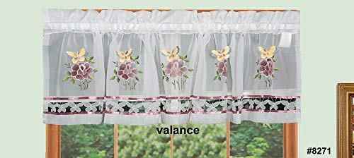 Butterfly Floral Kitchen Curtain Window Valance White 1PCS #8271 TkLinen from Unknown