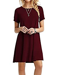 YANDW Knee Length Dresses Women A-line Casual Dress Ladies