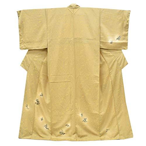 オピエート傾向エゴイズム(着物ひととき) リサイクル着物 訪問着 中古 正絹 ちょっとふくよかL 花文様 身丈165cm Mサイズ 裄68cm Lサイズ 茶系 ll2241b