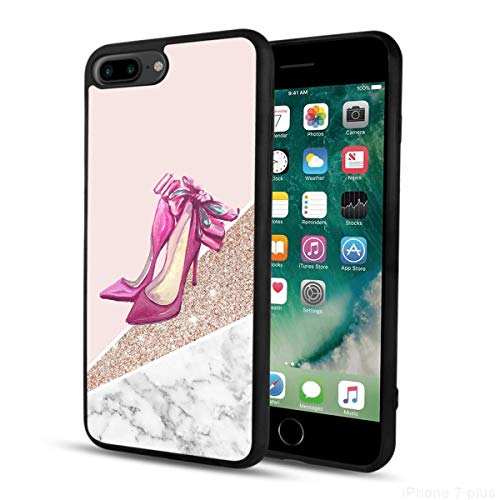 KASOS Phone Case for iPhone 7/8 Plus Case High Heels High Heels High Heels Art Glitter Red high Heels Shiny Pink Girlish Bling Marble