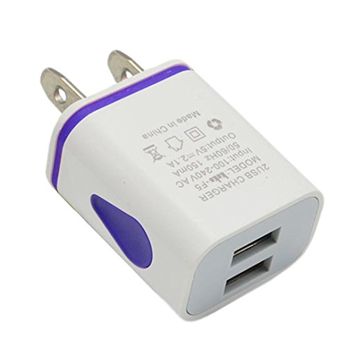 Price comparison product image Mchoice LED USB 2 Port Wall Home Travel AC Charger Adapter for S7 US Plug (Blue)